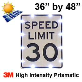 Solar powered SPEED LIMIT Sign (R2-1) 36x48 High Intensity HIP