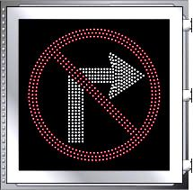 LED Illuminated NO RIGHT TURN R3-1 Multi Line