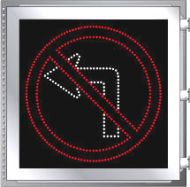 LED Illuminated NO LEFT TURN R3-2 Sign