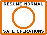 RESUME NORMAL SAFE OPERATIONS - USCG Regulatory Sign