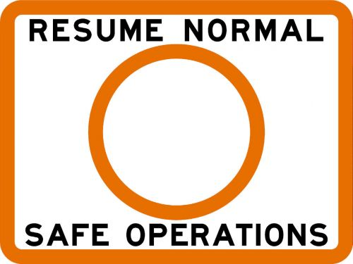 RESUME NORMAL SAFE OPERATIONS - USCG Regulatory Sign