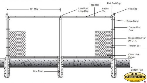 Galvanized Chain Link Fence 5ft with Top and Bottom Rail