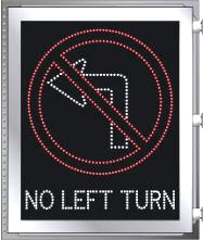 LED Illuminated NO LEFT TURN - NO LEFT TURN SYMBOL