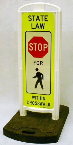 STOP for Pedestrians In-Street Sign with Portable Base - 3M Diamond Grade FYG