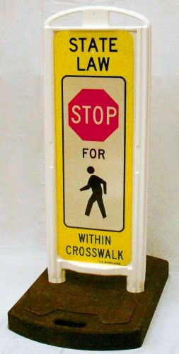 STOP for Pedestrians In-Street Sign with Portable Base - 3M HIP Reflective Yellow Sheeting