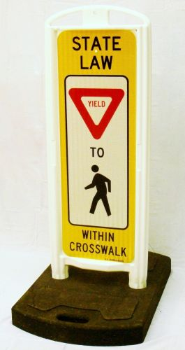YIELD To Pedestrians In-Street Sign with Portable Base - 3M HIP Reflective Yellow Sheeting