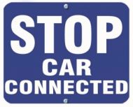 STOP CAR CONNECTED - Blue Flag OSHA Sign