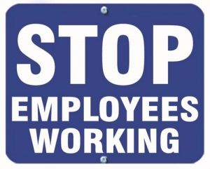 STOP EMPLOYEES WORKING - Blue Flag OSHA Sign