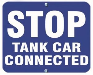 STOP TANK CAR CONNECTED - Blue Flag OSHA Sign