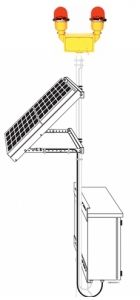 Solar Powered Obstruction Light - Double Light (FAA L-810)