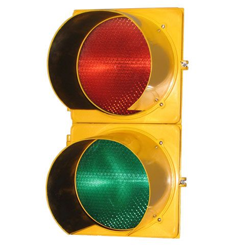 Traffic Signal 8in - Polycarbonate Two Section (Solar Red LED - Green LED)