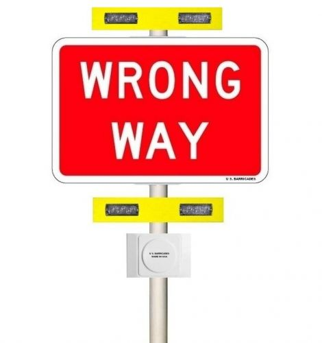WRONG WAY Warning System - Rectangular Rapid Flash Beacon (RRFB) - Vehicle Detection Activation - (AC) 60-135 VAC