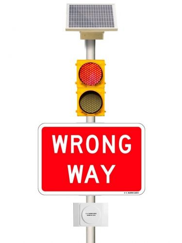 WRONG WAY Warning Beacons - Vehicle Detection Activation System - Solar Powered 6VDC