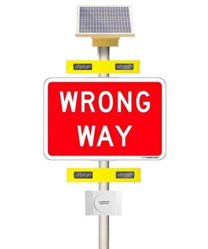 WRONG WAY Warning System - Rectangular Rapid Flash Beacon (RRFB) - Vehicle Detection Activation - (Solar) 12 VAC
