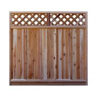 6 ft x 6 ft Western Red Cedar Diagonal Lattice Top Fence Panel